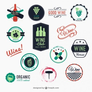 Pack of Colorful Wine Badges Free Vector