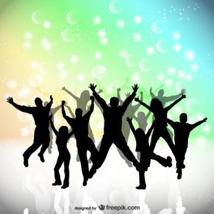 Party People Happy Jumping Free Vector