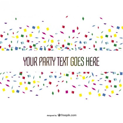 Party Template with Confetti Free Vector
