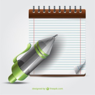 Pen and Notebook Cartoon Free Vector