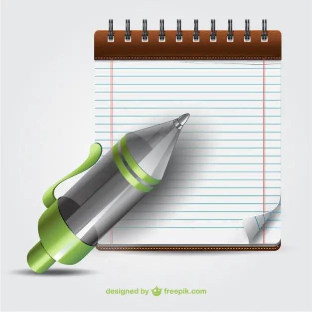 Pen and Notebook Cartoon Free Vector