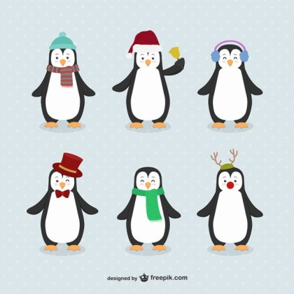 Penguin Cartoons Pack Free Vector