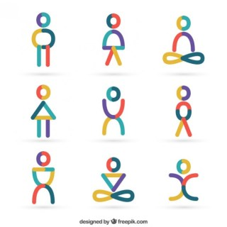 People Icons in Abstract Style Free Vector