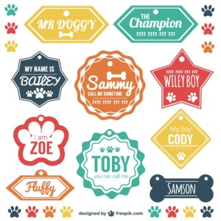 Pet Identification Tags Set Free Vector