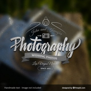 Photography Badge with Blurred Background Free Vector
