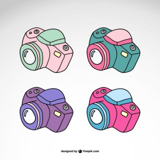 Photography Cameras Set Logo Design Free Vector