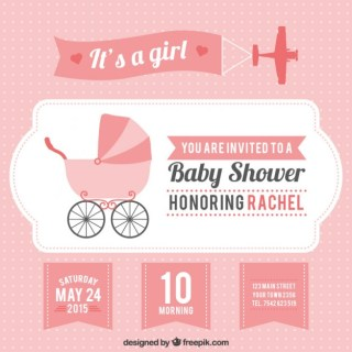 Pink Baby Shower Card for Girl Free Vector