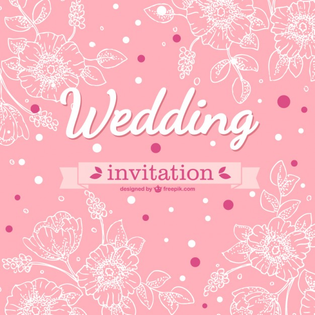 Pink Floral Wedding Card Free Vector