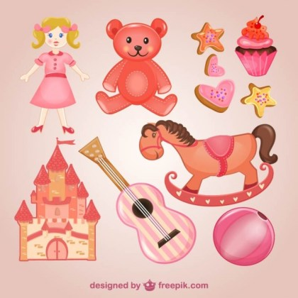 Pink Toys Pack Free Vector