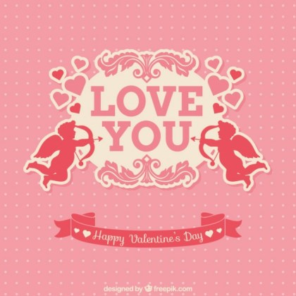 Pink Valentines Card with Cupids Free Vector
