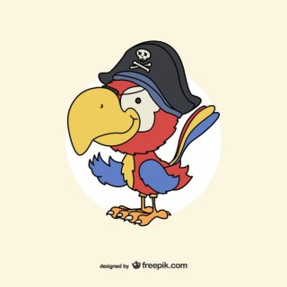 Pirate Parrot Drawing Free Vector