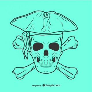 Pirate Skull Icon Illustration Free Vector