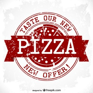 Pizza Grunge Stamp Design Free Vector