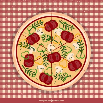 Pizza on Tablecloth Free Vector