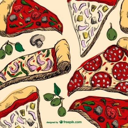 Pizza Slices Drawing Free Vector