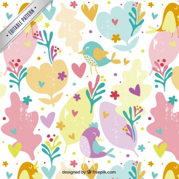 Plants Pattern with Birds Free Vector