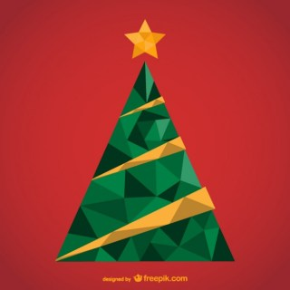 Polygonal Christmas Tree Free Vector