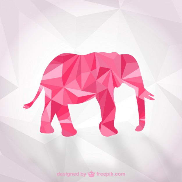 Polygonal Elephant Free Vector