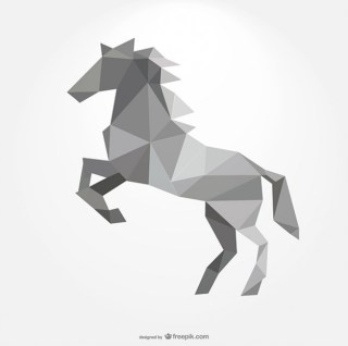 Polygonal Horse Forming By Triangles Free Vector