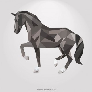 Polygonal Horse Geometric Triangle Design Free Vector