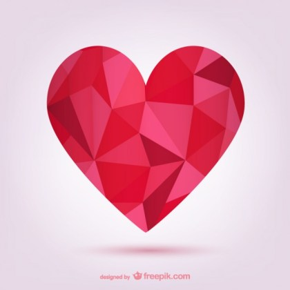 Polygonal Red Heart Free Vector