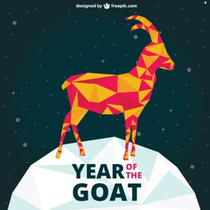Polygonal Year of The Goat Free Vector