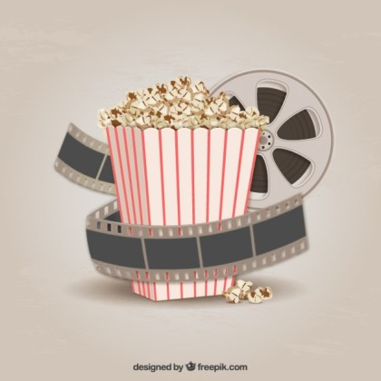 Popcorn and Filmstrip Free Vector