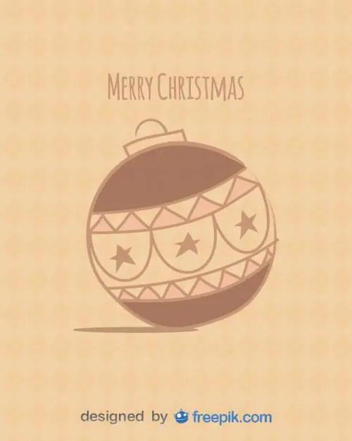 Postcard Merry Christmas with Christmas Ball Free Vector