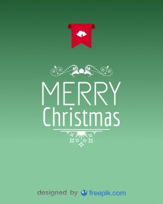 Postcard Merry Christmas with Decoration Free Vector