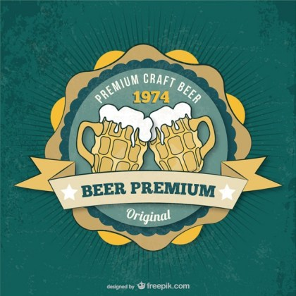 Premium Beer Badge Free Vector