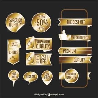Premium Golden Ribbons Free Vector