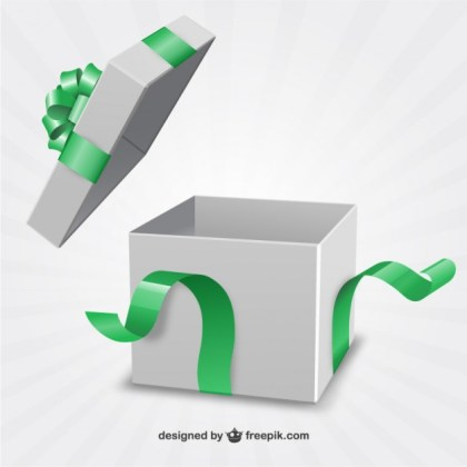 Present Box with Green Ribbon Free Vector