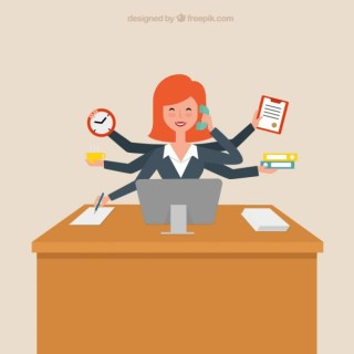 Productive Businesswoman Free Vector