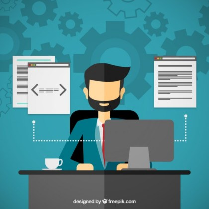 Programmer Working on The Computer Free Vector