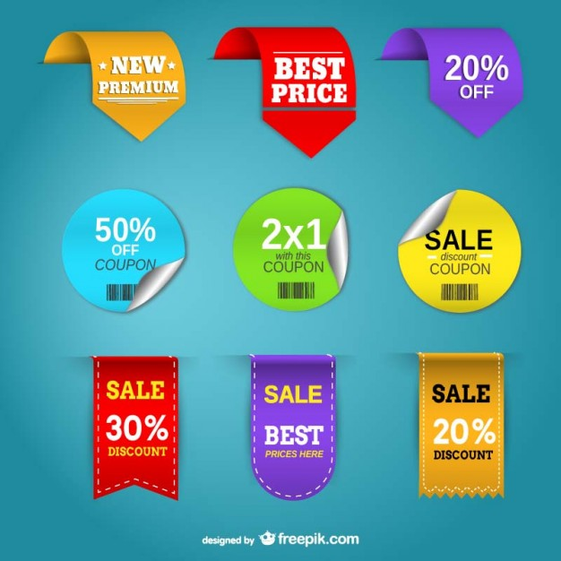 Promotion Price Tags Set Free Vector