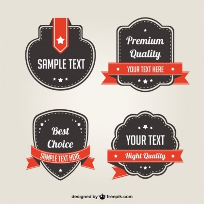Promotional Badges Set Free Vector