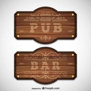 Pub and Bar Wooden Signs Free Vector