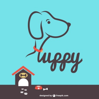 Puppy House Illustration Free Vector