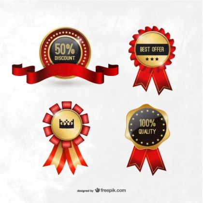 Quality and Discount Badges Free Vector