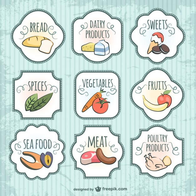 Quality Badges Food Free Vector
