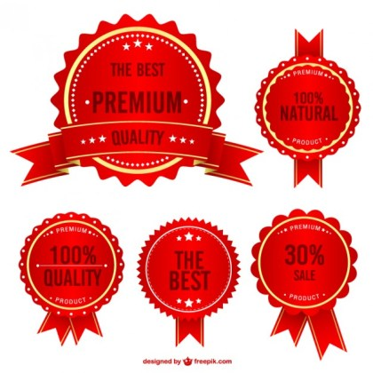 Quality Shopping Badges Set Free Vector