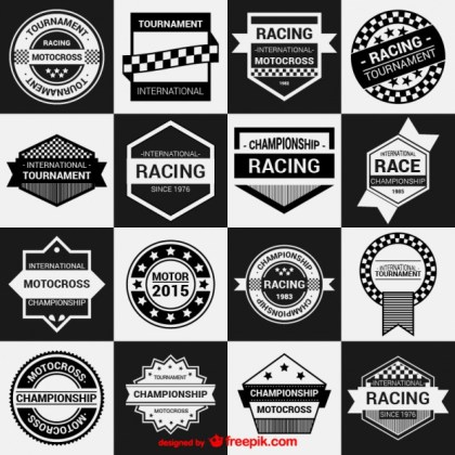 Racing Badges Collection Free Vector