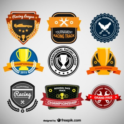 Racing Stickers Collection Free Vector