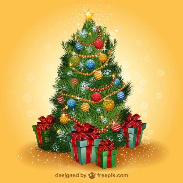 Realistic Christmas Tree Free Vector