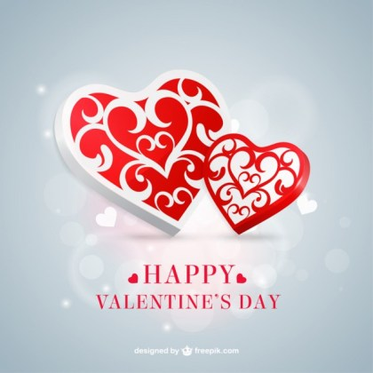 Red and White Valentine Hearts Free Vector