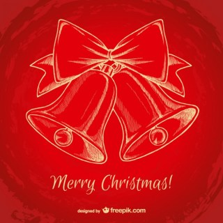 Red Christmas Background with Bells Free Vector
