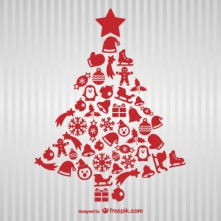 Red Christmas Tree with Icons Free Vector