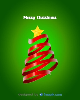 Red Ribbon Doing a Christmas Tree Free Vector