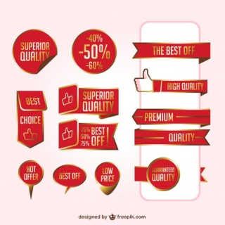 Red Ribbons Set Free Vector