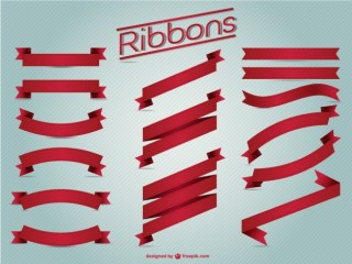 Red Ribbons Vintage Set Free Vector